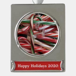 Chocolate Mint Candy Canes Silver Plated Banner Ornament