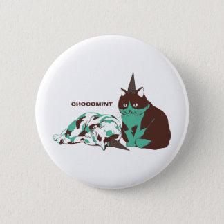 Chocolate mint _cat 6 cm round badge