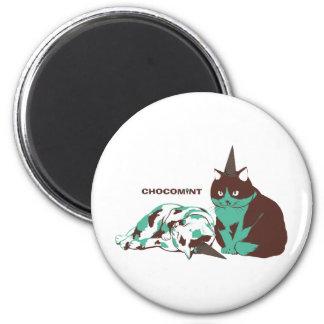 Chocolate mint _cat 6 cm round magnet