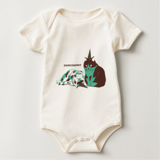 Chocolate mint _cat baby bodysuit