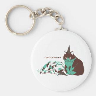 Chocolate mint _cat basic round button key ring