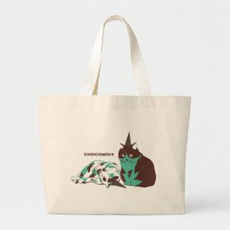 Chocolate mint _cat jumbo tote bag