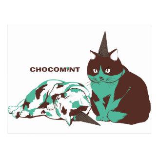 Chocolate mint _cat postcard