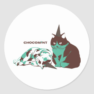 Chocolate mint _cat round sticker