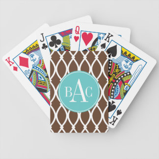Chocolate Monogrammed Barcelona Print Bicycle Playing Cards
