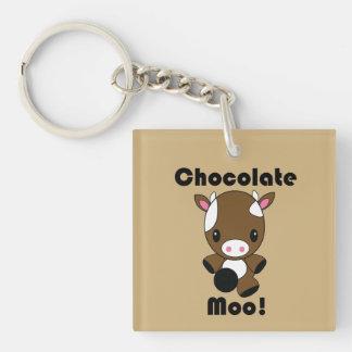 Chocolate Moo Kawaii Cow Single-Sided Square Acrylic Key Ring