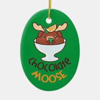 Chocolate Moose Mousse Ceramic Ornament