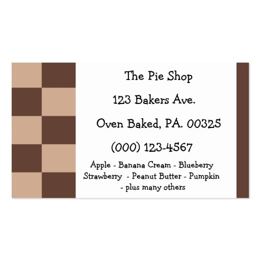 Chocolate Mousse Pie Colors Business Card