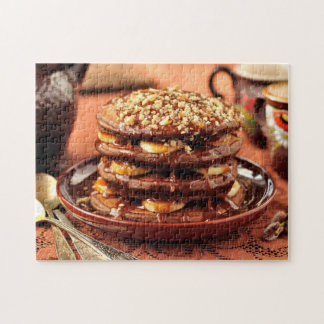 Chocolate Pancakes with Bananas and Caramel Jigsaw Puzzle