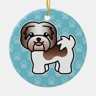 Chocolate Piebald Cartoon Havanese Dog Ceramic Ornament