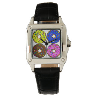 Chocolate Pink Blue Yellow Donut Pattern Sprinkles Watch
