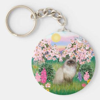 Chocolate Point Himalayan -  Blossoms Key Ring