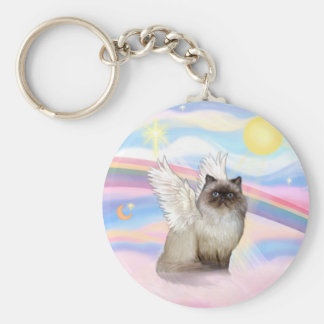 Chocolate Point Himalayan Cat Angel Keychains