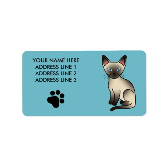 Chocolate Point Siamese Breed Cat Illustration Label