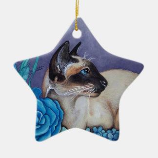 Chocolate Point Siamese Cat Ceramic Ornament