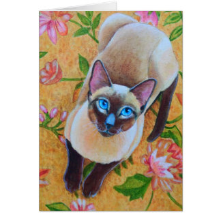 Chocolate Point Siamese Cat on Floral Rug Card
