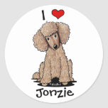 Chocolate Poodle Personalised Round Stickers