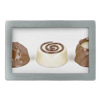 Chocolate pralines rectangular belt buckle