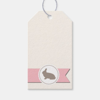 Chocolate Rabbit Pink Ribbon Gift Tags