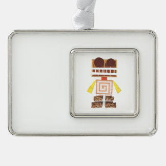 Chocolate Robot Framed Ornament Silver Plated Framed Ornament