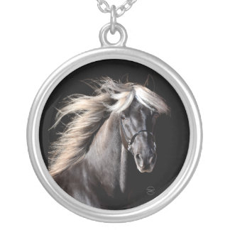 Chocolate Rocky Mountain Horse Silver Plated Necklace