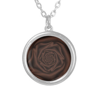 Chocolate Rose SpiralNecklace Silver Plated Necklace
