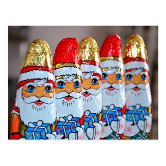 Chocolate Santa Claus postcard