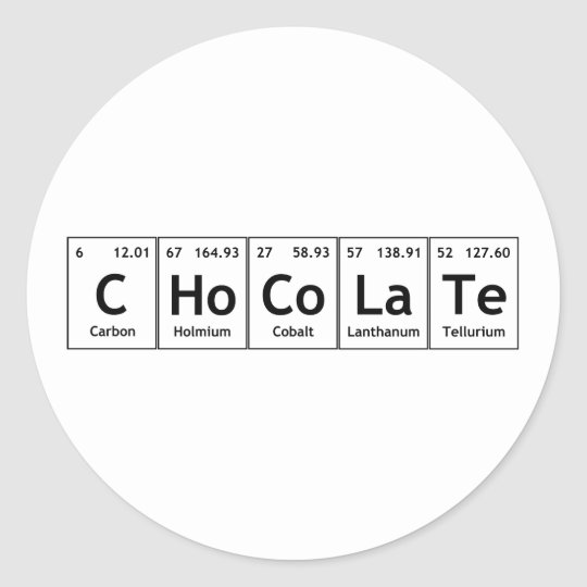 Chocolate science periodic table words elements classic round chocolate science periodic table words elements classic round sticker urtaz Choice Image