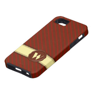 Chocolate Shop Monogram - Cherry Stripes - W iPhone 5 Case