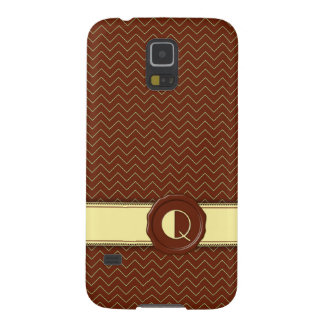 Chocolate Shop Monogram - Mint Chevron - Q Galaxy S5 Cover