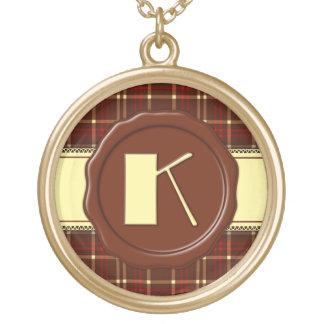 Chocolate Shop Monogram -Red Brown Plaid - K Jewelry