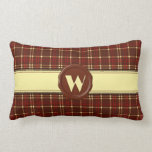 Chocolate Shop Monogram -Red Brown Plaid - W Throw Pillow