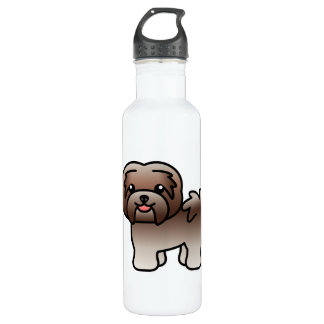 Chocolate Silver Cartoon Havanese Dog 710 Ml Water Bottle