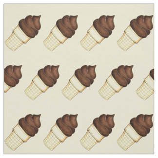 Chocolate Soft Serve Ice Cream Cone Fabric