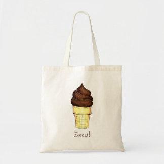 Chocolate Soft Serve Ice Cream Cone Sweet Tote Budget Tote Bag