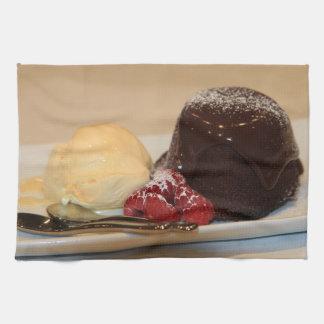 Chocolate sponge and ice cream hand towels