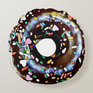 Chocolate Sprinkle Donut Double Sided Round Pillow