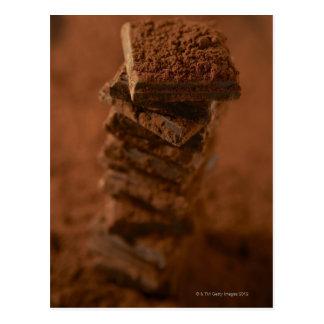 Chocolate squares stack postcard