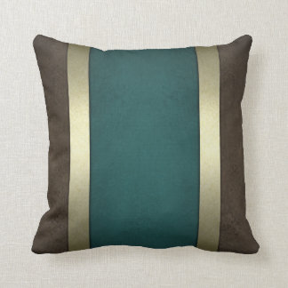 Chocolate Stone Golden Border Classic Blue Pillow