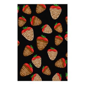 Chocolate strawberries pattern personalized stationery