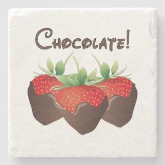 Chocolate Strawberries Stone Beverage Coaster