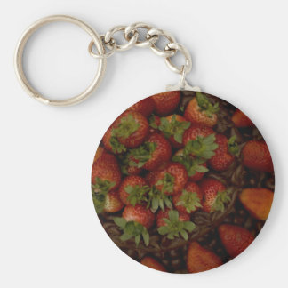 Chocolate Strawberry Cake Basic Round Button Key Ring