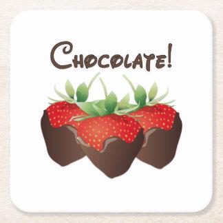 Chocolate Strawberry Love Square Paper Coaster