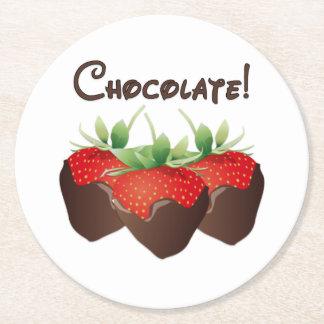 Chocolate Strawberry Love Round Paper Coaster