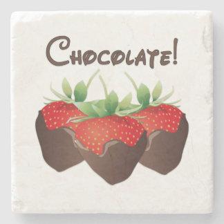 Chocolate Strawberry Stone Beverage Coaster
