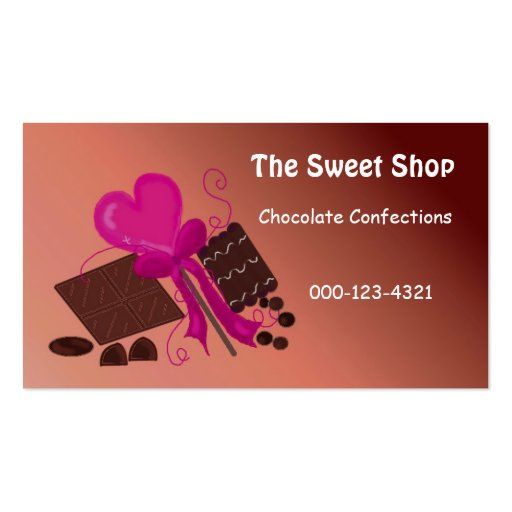 Chocolate Sweet Shop Business Cards