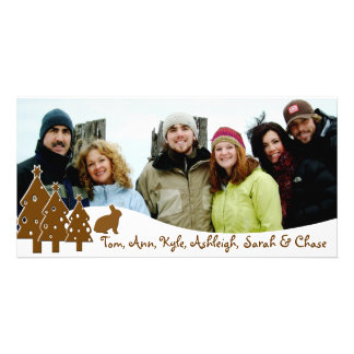 Chocolate Trees & Bunny Holiday Family Photo Personalised Photo Card