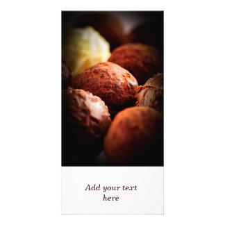 Chocolate truffles photo greeting card