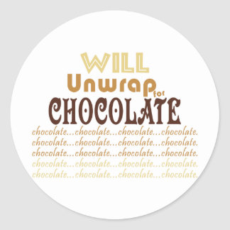 Chocolate Unwrap Classic Round Sticker
