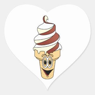 Chocolate Vanilla Ice Cream Cone Cartoon Heart Sticker